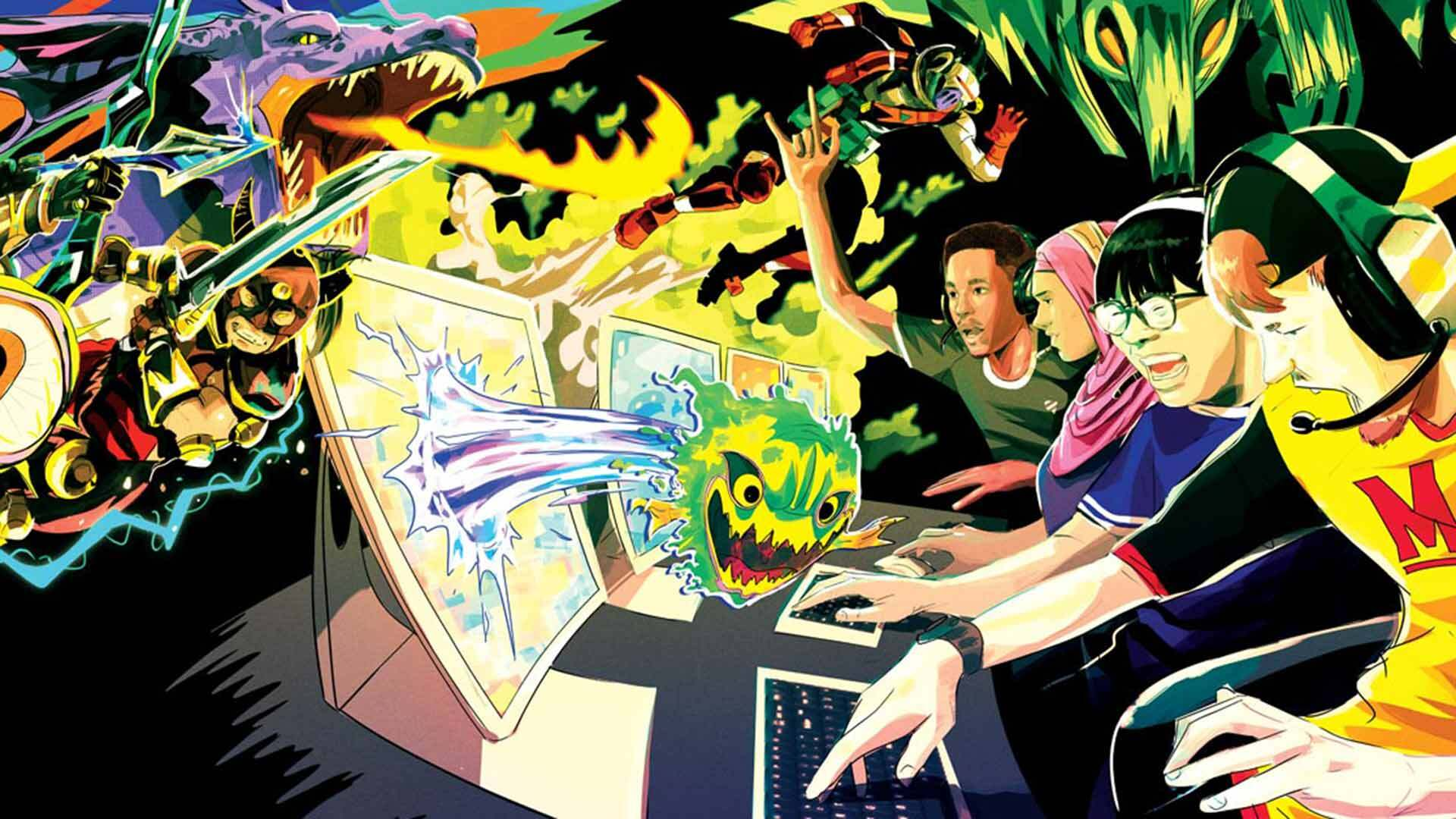 The student group UMCP Gaming has put esports teams into national competitions for thousands of dollars in prizes. University Recreation and Wellness plans to hire its first esports coordinator to provide the same administrative support that club sports now enjoy. Illustration by Ryan Inzana.